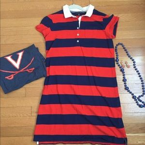 Navy and orange rugby shirt dress size 6-8